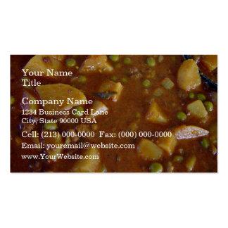 Curry mezclado picante de las verduras tarjeta de visita