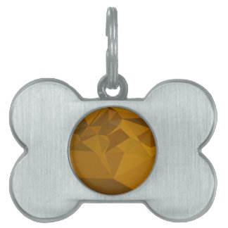 Curry Yellow Abstract Low Polygon Background Pet ID Tag