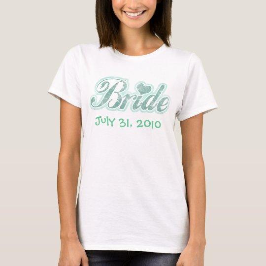 Cursive Bride Aqua Ladies Baby Doll T-Shirt
