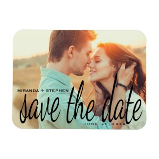 Cursive Chic Save the Date Wedding Photo Magnet