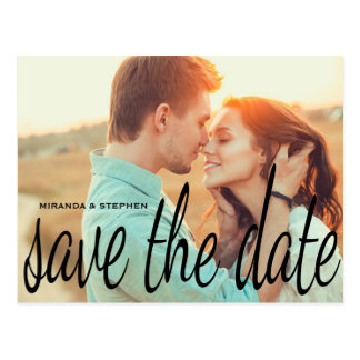 Cursive Chic Wedding Save the Date Photo Postcard