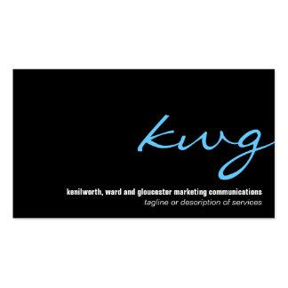 Cursive Cyan Monogram Business Card