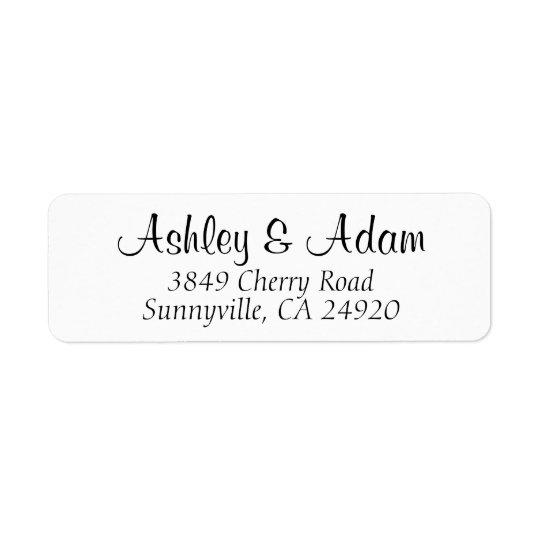 cursive elegance wedding return address labels zazzle com