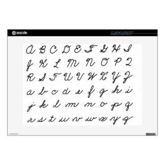 "cursive handwriting chart 15"" laptop skin"