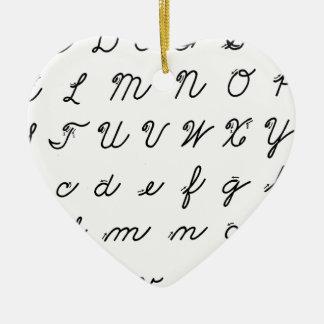 cursive handwriting chart ceramic ornament
