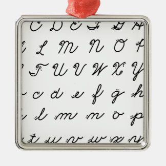 cursive handwriting chart metal ornament