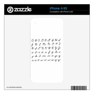 cursive handwriting chart skin for the iPhone 4S