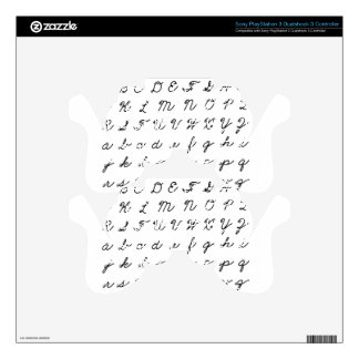 cursive handwriting chart skins for PS3 controllers