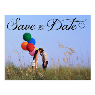 Cursive Heart Save The Date Postcard
