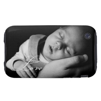 Cursive LOVE elegant upload your own photo Tough iPhone 3 Cover
