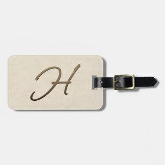 cursive monogra - H Bag Tag
