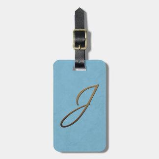 cursive monogram - J Bag Tags