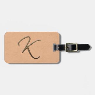 cursive monogram - K Bag Tag