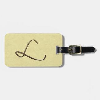 cursive monogram - L Travel Bag Tags