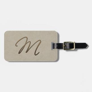 cursive monogram - M Tag For Bags