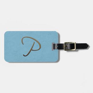 cursive monogram - P Tag For Bags