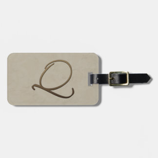 cursive monogram Q Tag For Bags