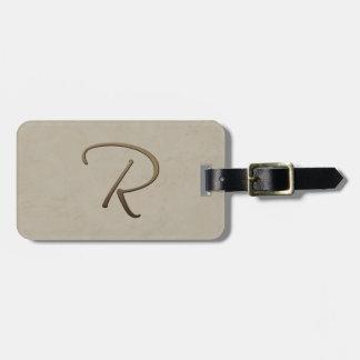 cursive monogram - R Travel Bag Tags