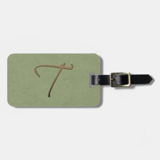 cursive monogram - T Bag Tag