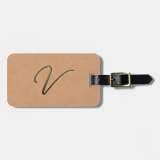 cursive monogram - V Travel Bag Tag
