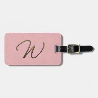 cursive monogram - W Luggage Tags