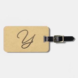 Cursive monogram - Y Bag Tags
