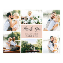 Cursive | Wedding Photo Collage Thank You Postcard