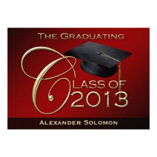 Curso de graduación rojo de 2013 invitacion personalizada