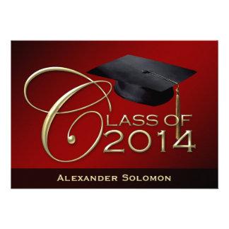 Curso de graduación rojo de 2014 invitacion personalizada