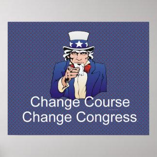 Curso del cambio de la CAMISETA Póster