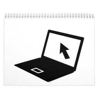Cursor del ratón del ordenador portátil del cuader calendario