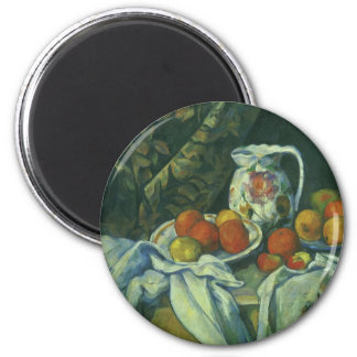 Curtain and Flowered Pitcher by Paul Cezanne 2 Inch Round Magnet