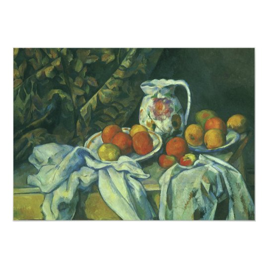 Curtain and Flowered Pitcher by Paul Cezanne Card