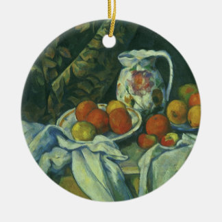Curtain and Flowered Pitcher by Paul Cezanne Ceramic Ornament