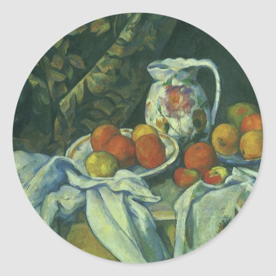 Curtain and Flowered Pitcher by Paul Cezanne Classic Round Sticker
