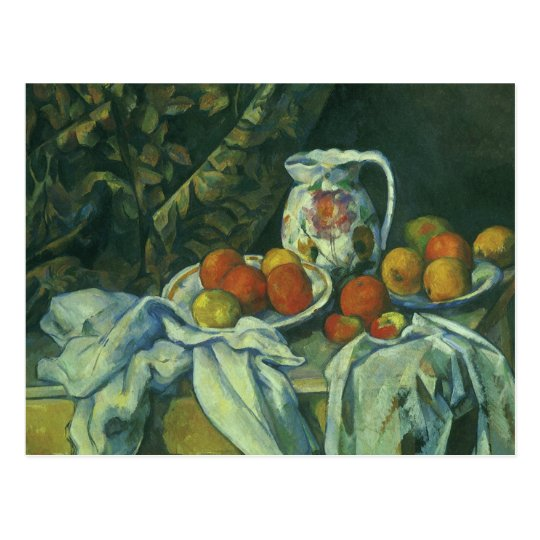 Curtain and Flowered Pitcher by Paul Cezanne Postcard