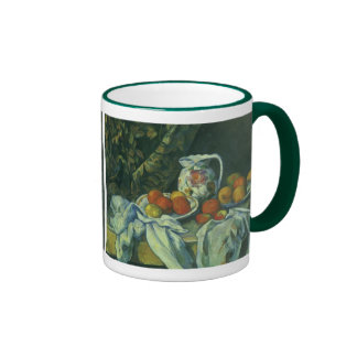 Curtain and Flowered Pitcher by Paul Cezanne Ringer Mug