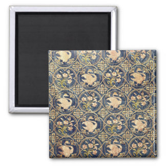 Curtain decorated with swans and fleur-de-lys 2 inch square magnet