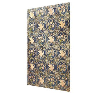 Curtain decorated with swans and fleur-de-lys canvas print