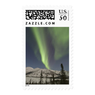 Curtains of aurora borealis dance across the sky postage