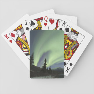 Curtains of green aurora borealis in the sky 2 playing cards