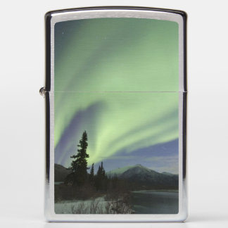 Curtains of green aurora borealis in the sky 2 zippo lighter