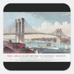 Curtidor del puente de Brooklyn e impresión del Calcomanías Cuadradas