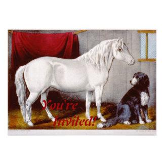 Curtidor e Ives mi vintage del potro y del perro Anuncios