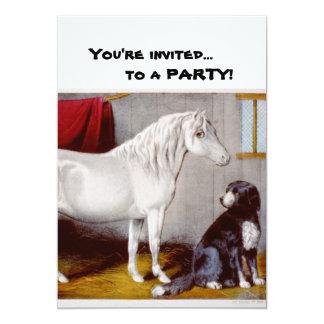 Curtidor e Ives mi vintage del potro y del perro Invitaciones Personalizada