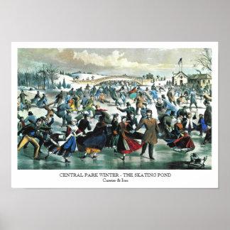 Curtidor y Ives - poster - invierno del Central Pa Póster