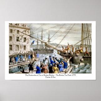 Curtidor y Ives - poster - la fiesta del té de Bos Póster