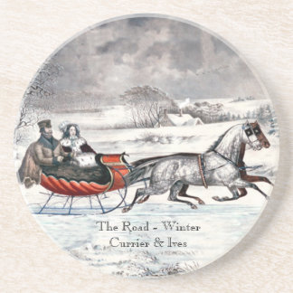 Curtidor y Ives - práctico de costa - el invierno  Posavasos Manualidades
