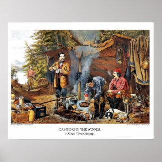 Curtidor y litografía de Ives: El acampar en las Póster