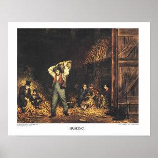 Curtidor y litografía de Ives: EL DESCASCARAR Póster